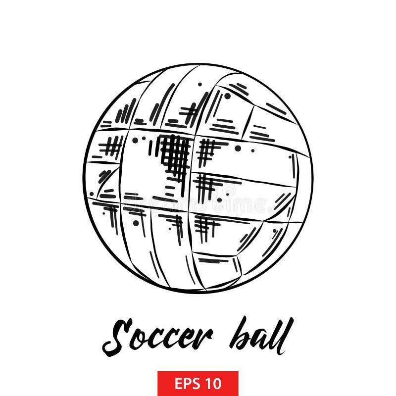 足球手拉的剪影在白色背景在黑的隔绝的 详细的葡萄酒蚀刻样式图画 库存例证