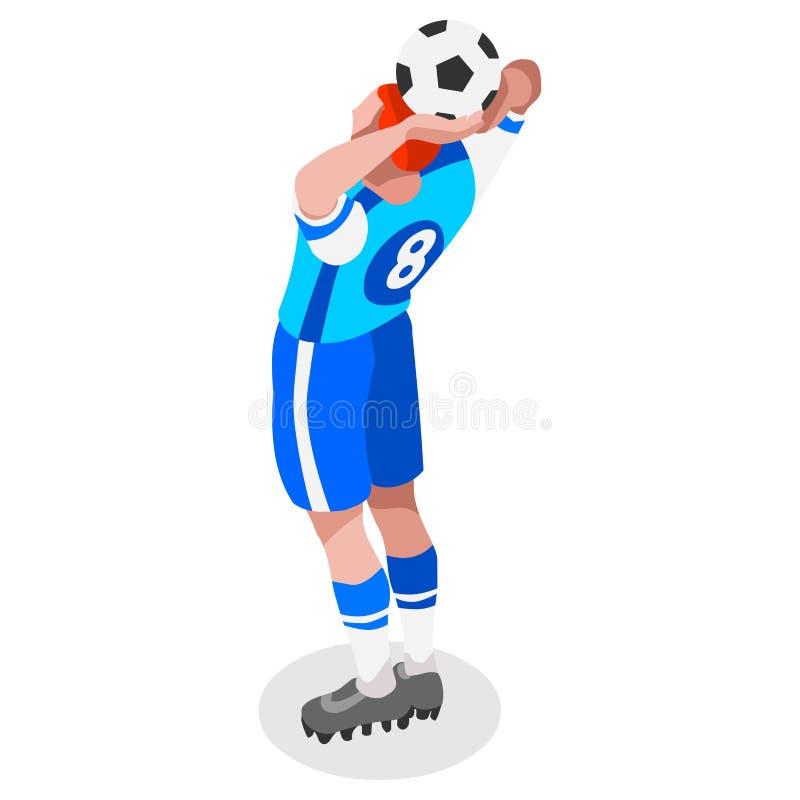 足球投掷球员运动员体育象集合 3D等量领域足球比赛和球员 向量例证