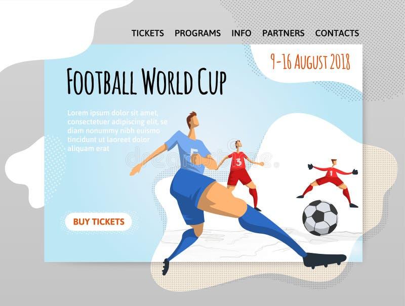 足球抽象平的样式的足球运动员 导航illutration、体育站点设计模板,横幅或者海报 皇族释放例证