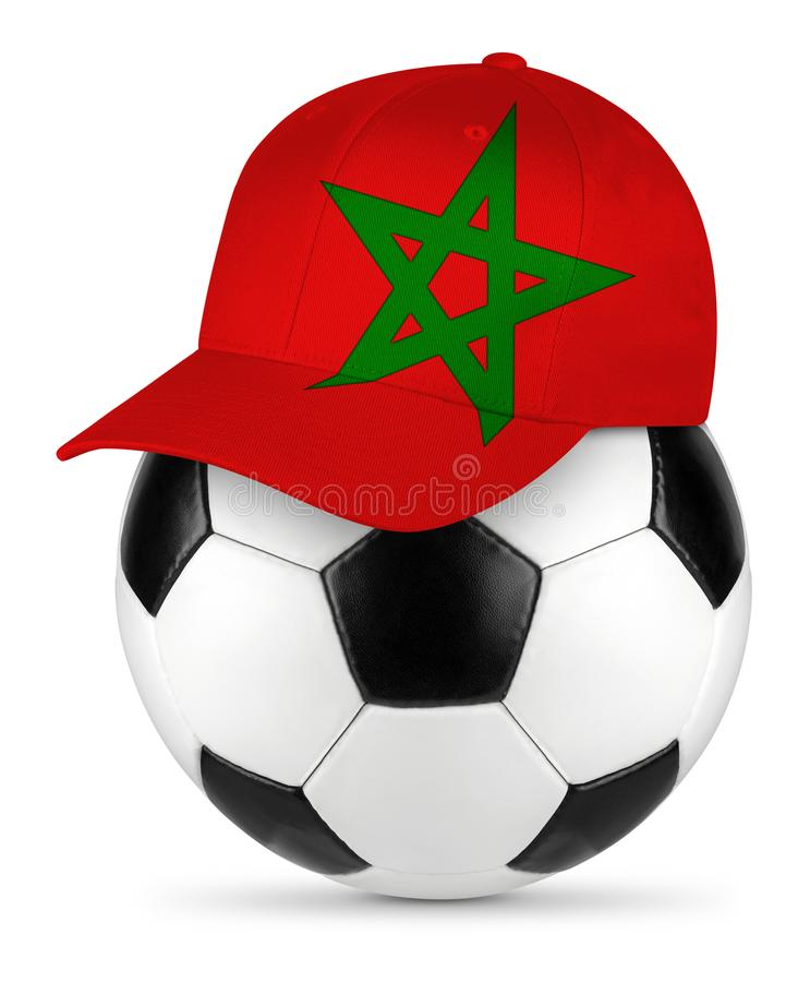 足球摩洛哥棒球帽 免版税库存图片