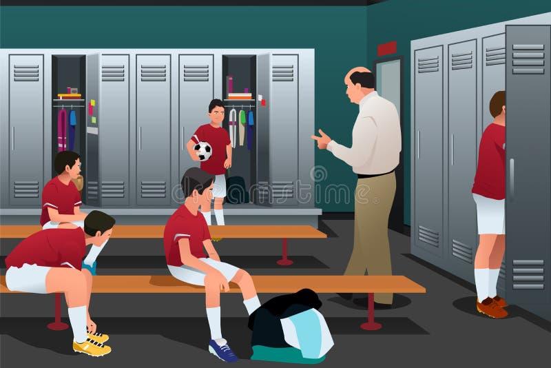 足球教练谈话与球员在更衣室 皇族释放例证