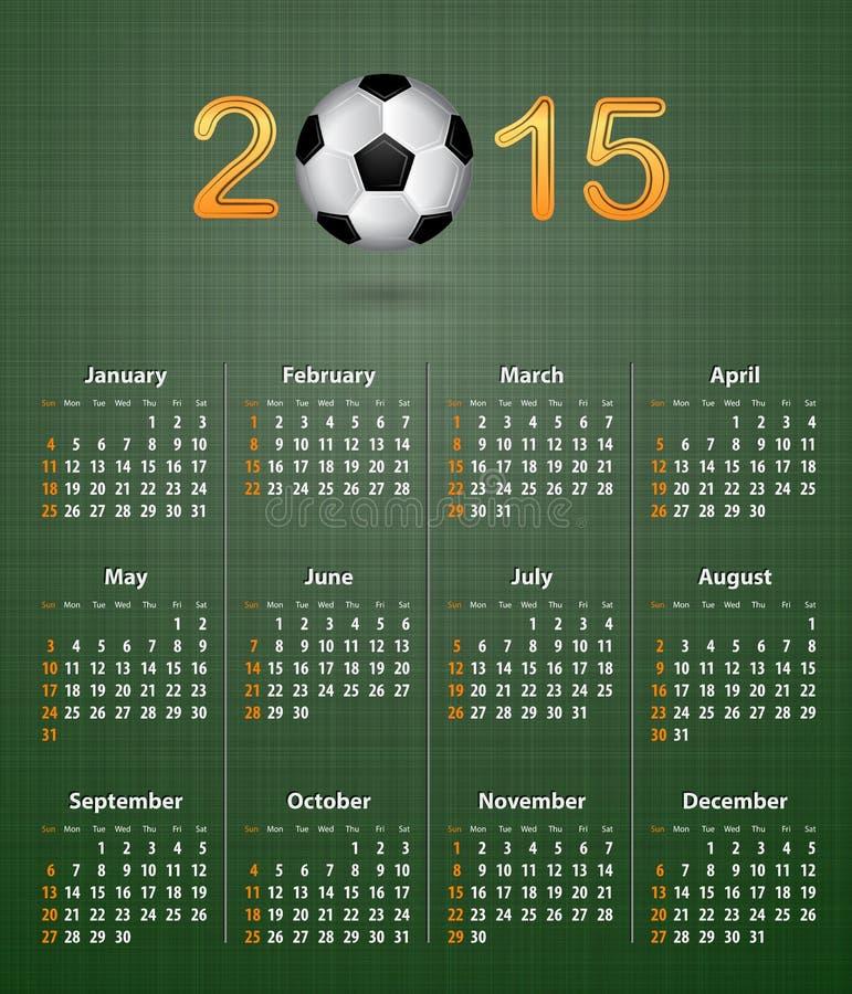 足球日历在2015年在绿色亚麻制纹理 皇族释放例证