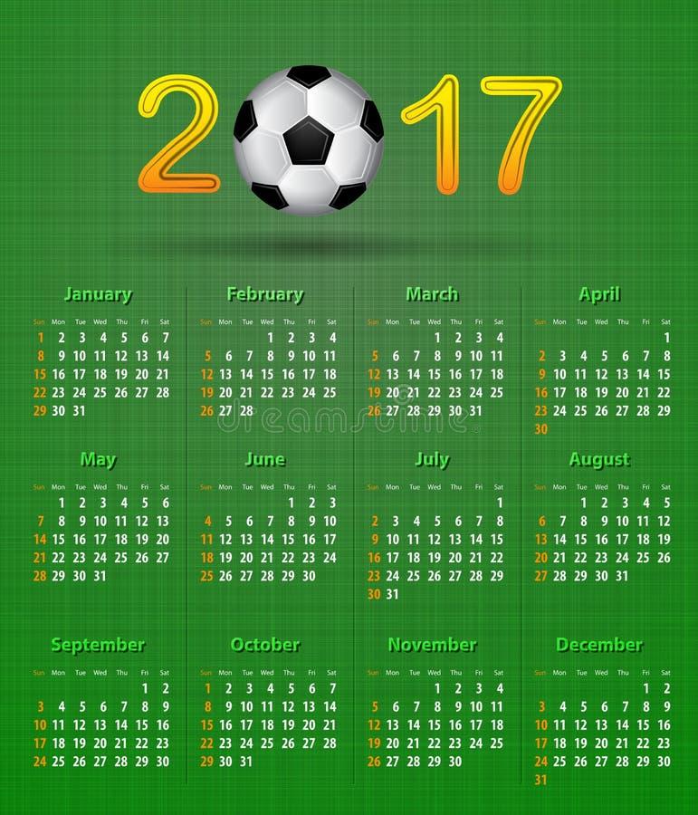 足球日历在2017年在绿色亚麻制纹理 皇族释放例证