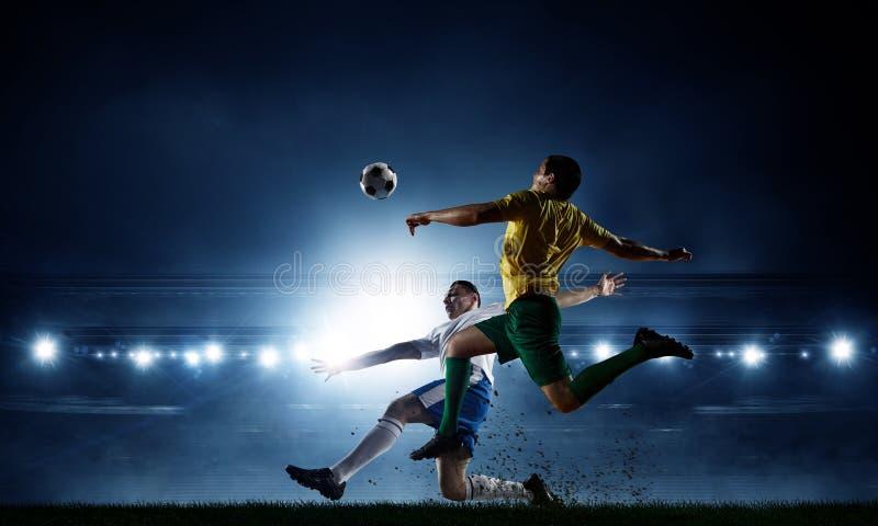 足球最佳的片刻 混合画法 库存图片