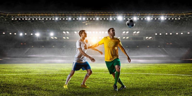 足球最佳的片刻 混合画法 库存照片