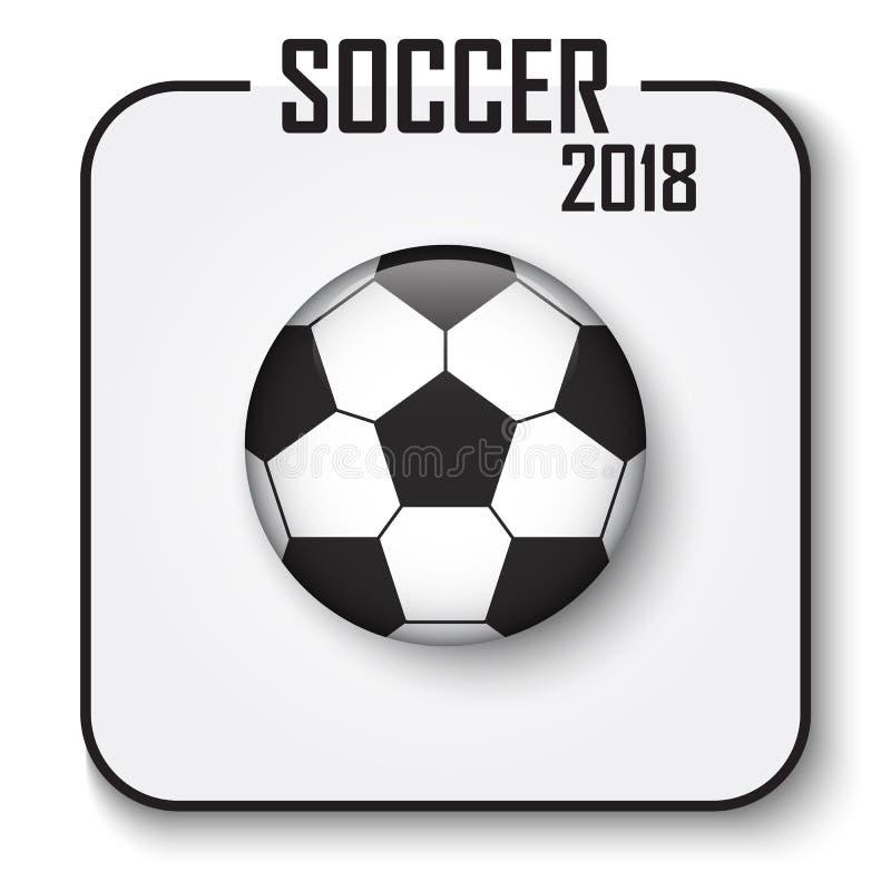 足球杯子2018唯一象 与阴影的凸面样式橄榄球在灰色隔绝了背景 国际世界冠军的传染媒介 向量例证