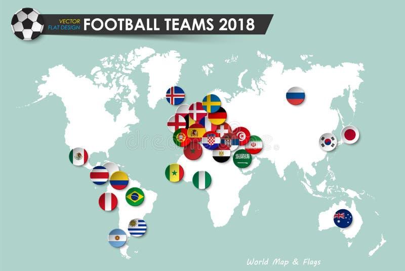 足球杯子2018年 橄榄球队国旗在世界地图背景的 国际世界冠军比赛的传染媒介 向量例证