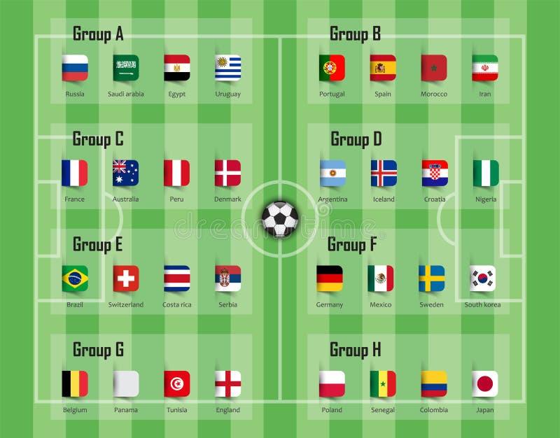 足球杯子2018队小组和国旗 国际世界冠军比赛的传染媒介 向量例证