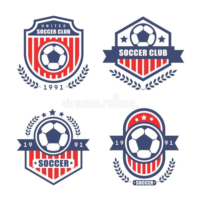足球模板冠军的徽章传染媒介 库存图片