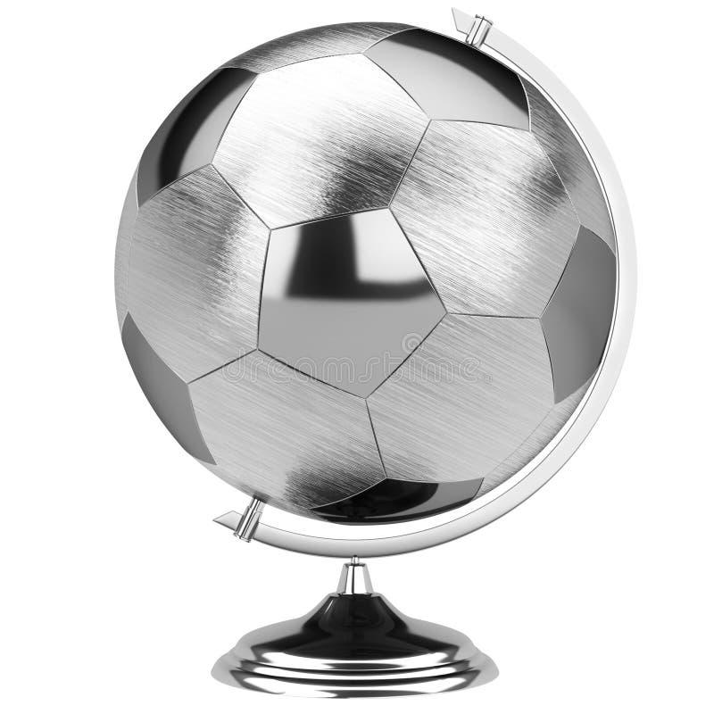 足球比赛的时髦的不锈钢地球 向量例证