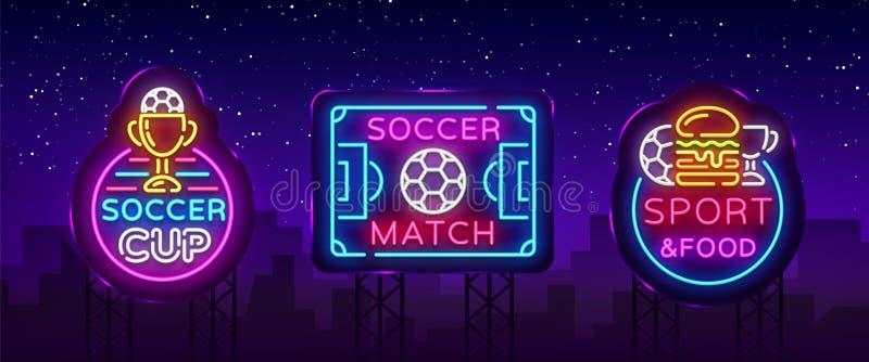 足球汇集霓虹灯广告传染媒介 橄榄球集合商标氖,设计模板象征,足球标志,轻的横幅 皇族释放例证