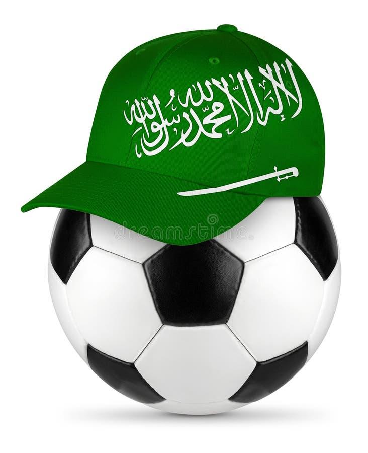 足球沙特阿拉伯棒球帽 免版税库存图片