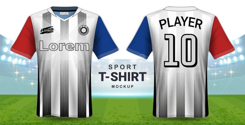 足球泽西和运动服T恤杉大模型模板,现实图形设计前面和后面视图橄榄球成套工具制服的 库存例证