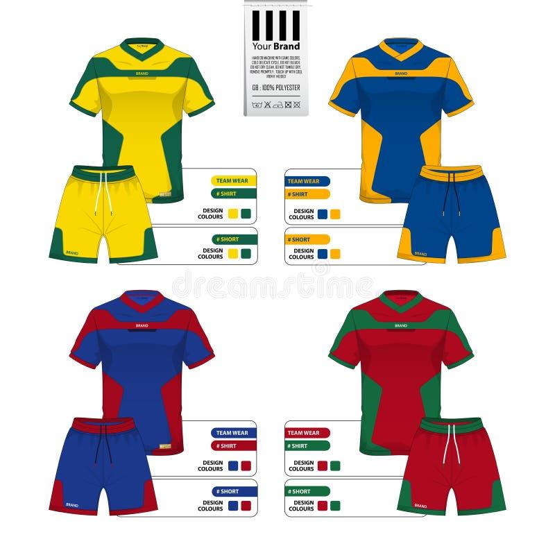 足球球衣或橄榄球成套工具和短的气喘模板运动服编目的 库存例证