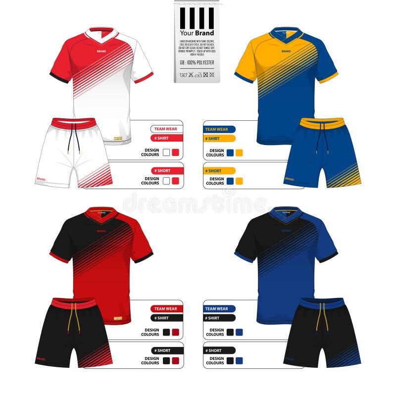 足球球衣或橄榄球成套工具和短的气喘模板运动服编目的 向量例证