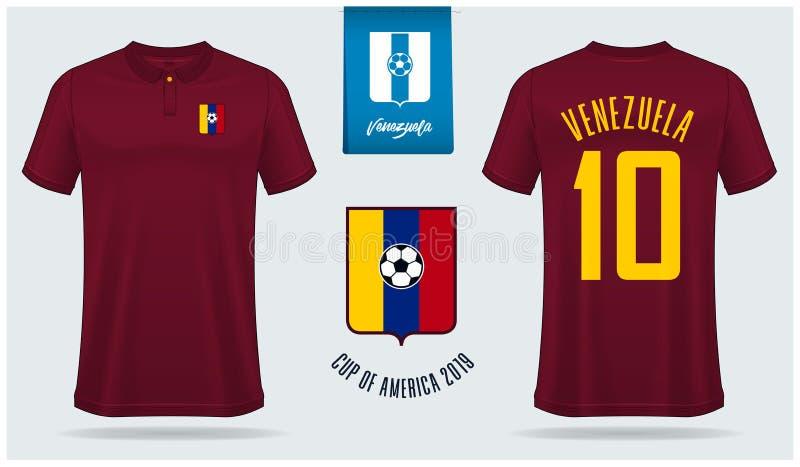 足球球衣或橄榄球成套工具大模型模板设计委内瑞拉国家足球队的 皇族释放例证