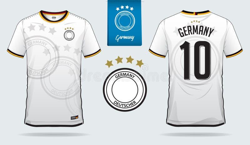 足球球衣或橄榄球成套工具模板设计德国国家橄榄球队的 前面和后面图片