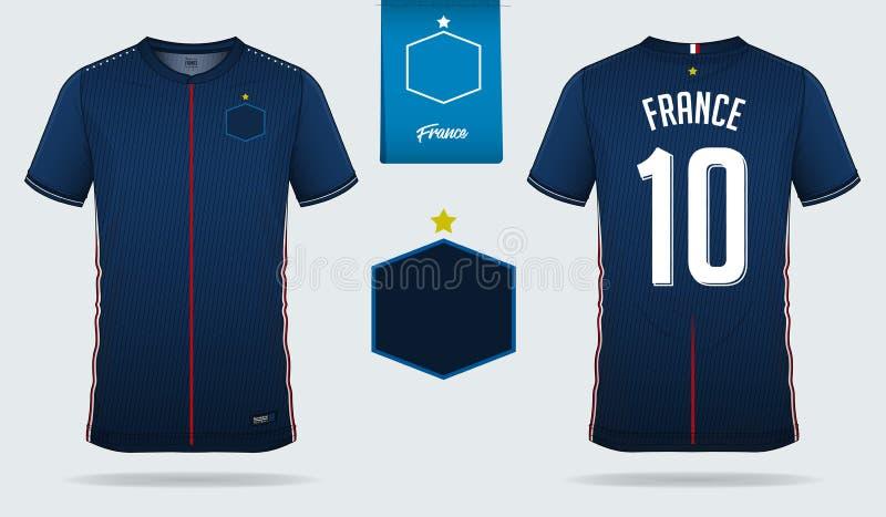 足球球衣或橄榄球成套工具模板设计法国国家橄榄球队的 前面和后面看法足球制服 皇族释放例证