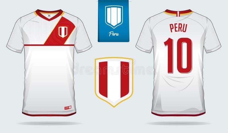足球球衣或橄榄球成套工具模板设计秘鲁国家橄榄球队的 前面和后面图片
