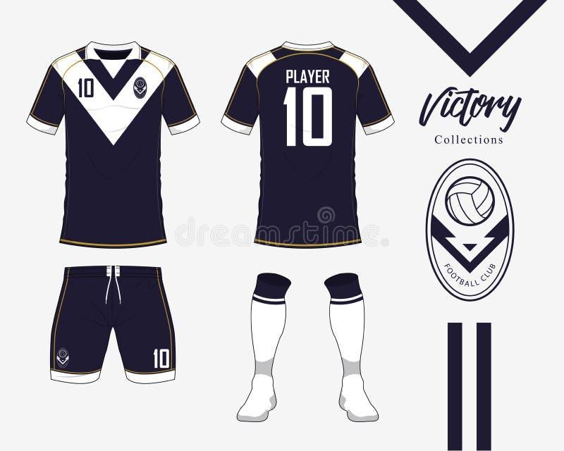足球球衣或橄榄球成套工具汇集在胜利概念 橄榄球衬衣嘲笑 前面和后面看法足球制服 库存例证