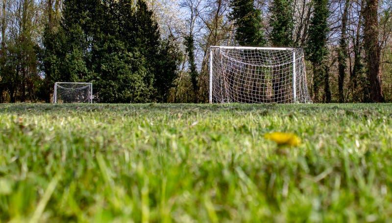 足球男孩的沥青在一个小草甸 免版税库存照片