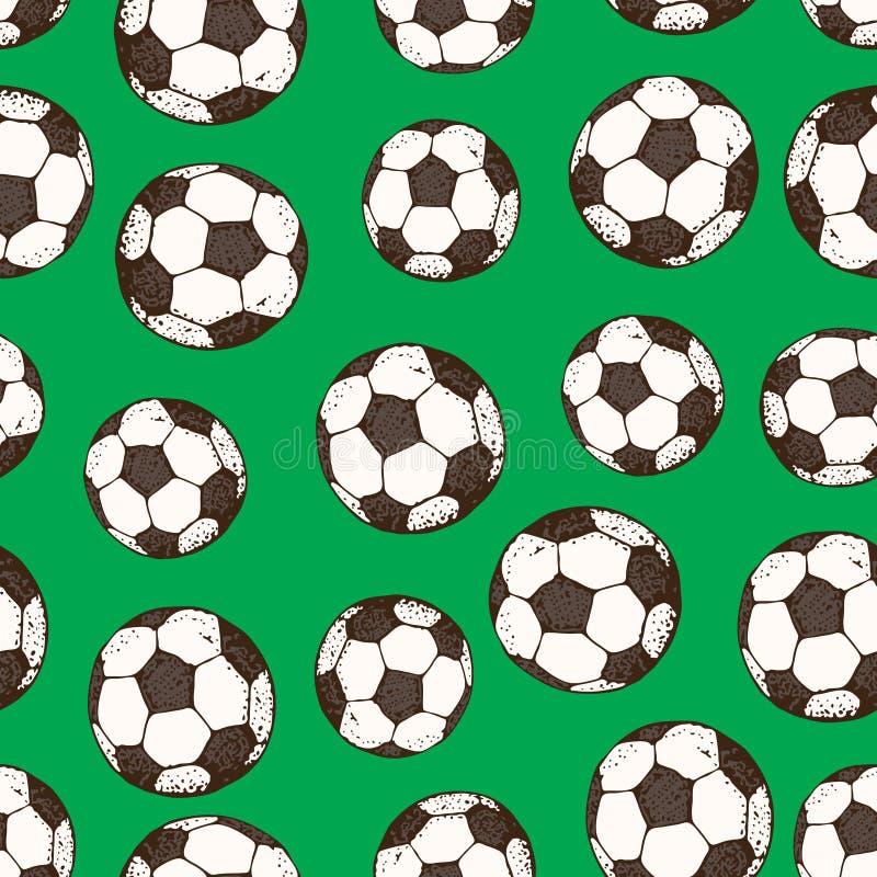 足球的传染媒介手拉的无缝的样式 查出在绿色背景 向量例证
