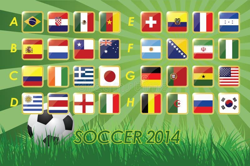 足球的国家队旗子2014年在草背景和足球32国家 向量例证