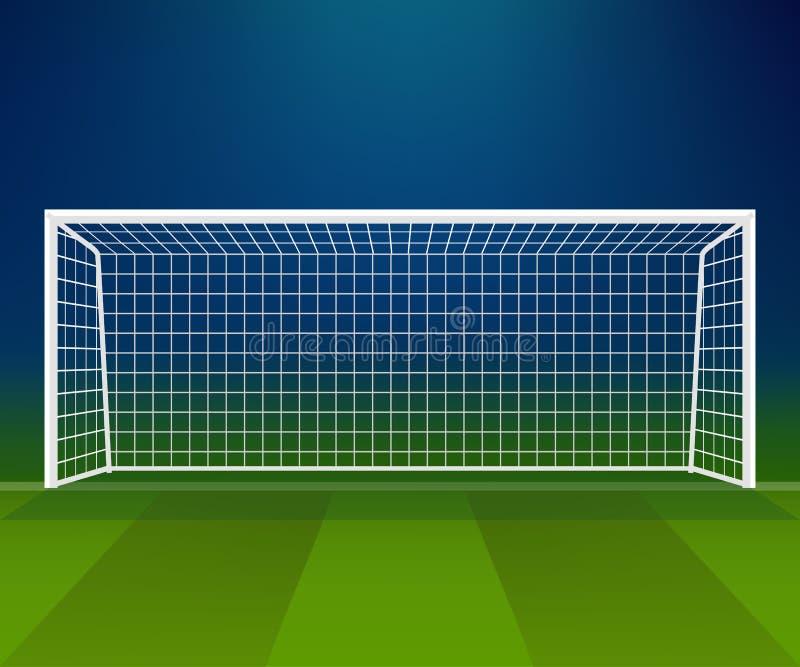 足球目标,与网的橄榄球球门柱在体育场背景 向量例证