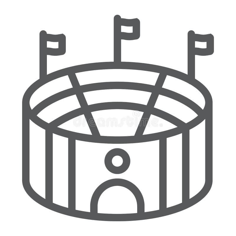 足球竞技场线象,体育和领域,体育场标志,向量图形,在白色背景的一个线性样式 库存例证