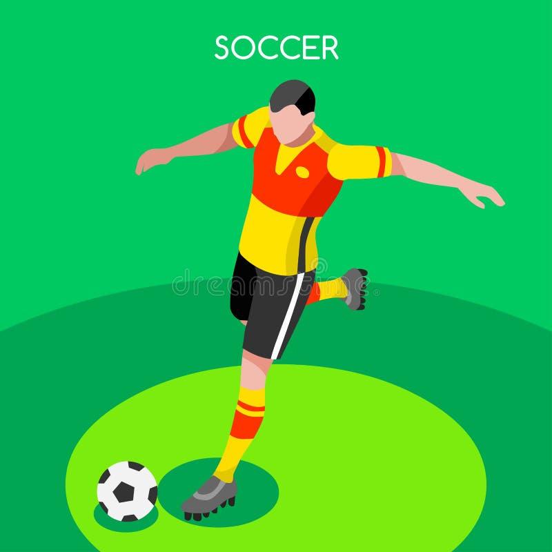 足球罢工者夏天比赛3D传染媒介例证 向量例证