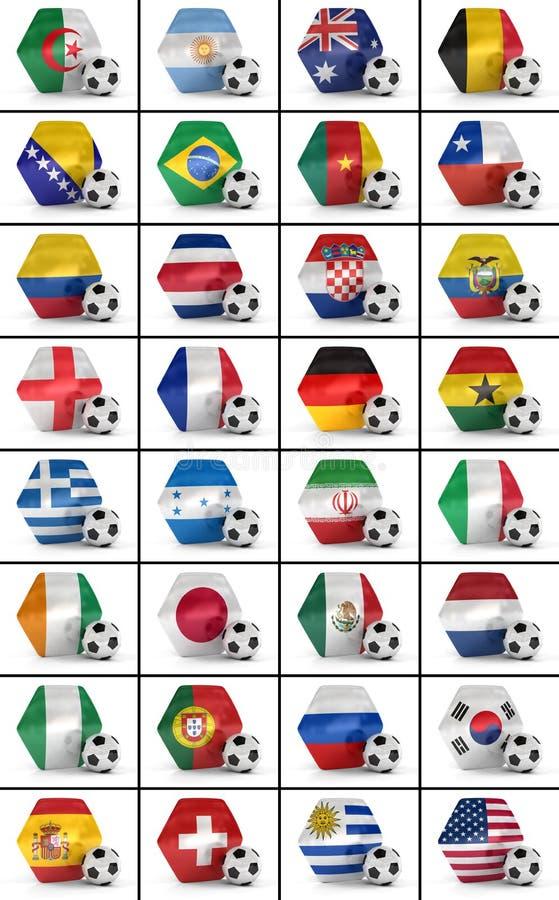 足球被设置的冠军国家 向量例证