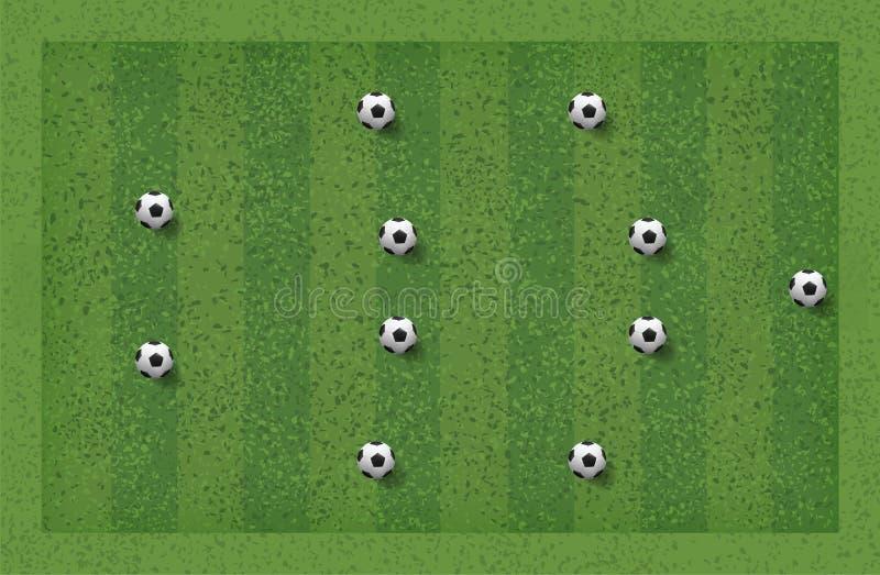 4-4-2足球赛战术 教练的布局位置 向量 向量例证