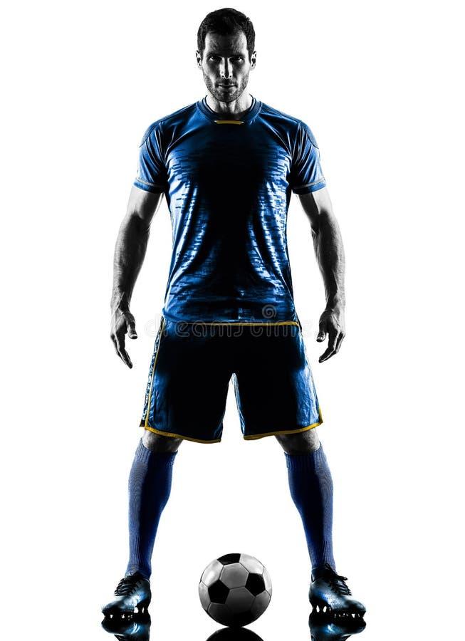 足球运动员人常设剪影 免版税库存图片