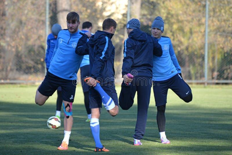 足球运动员做着一起舒展腿 免版税图库摄影