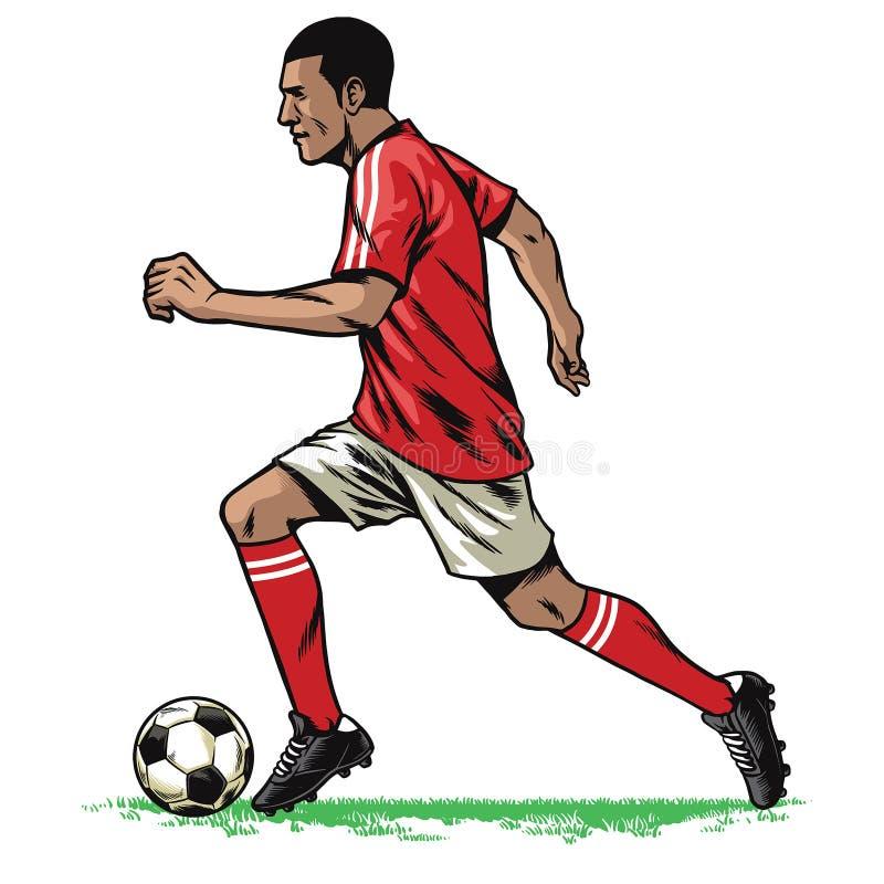 足球运动员减速火箭的赛跑姿势 向量例证
