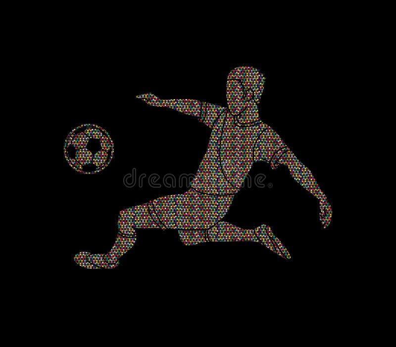 足球运动员击中了球,倒钩球 库存例证