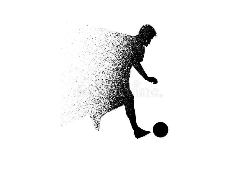 足球运动员剪影从微粒的 向量例证
