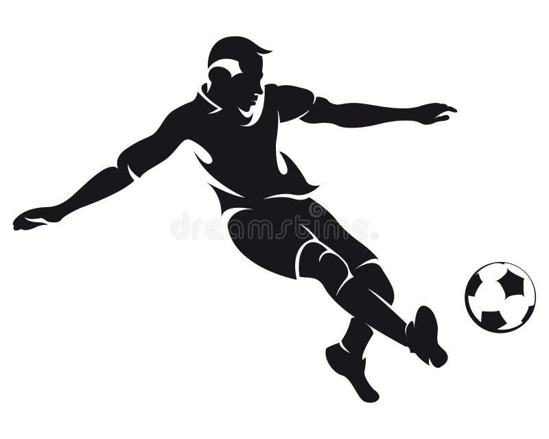 足球运动员剪影足球向量 向量例证
