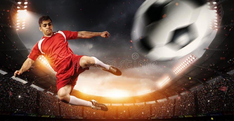 足球运动员在体育场内 库存图片