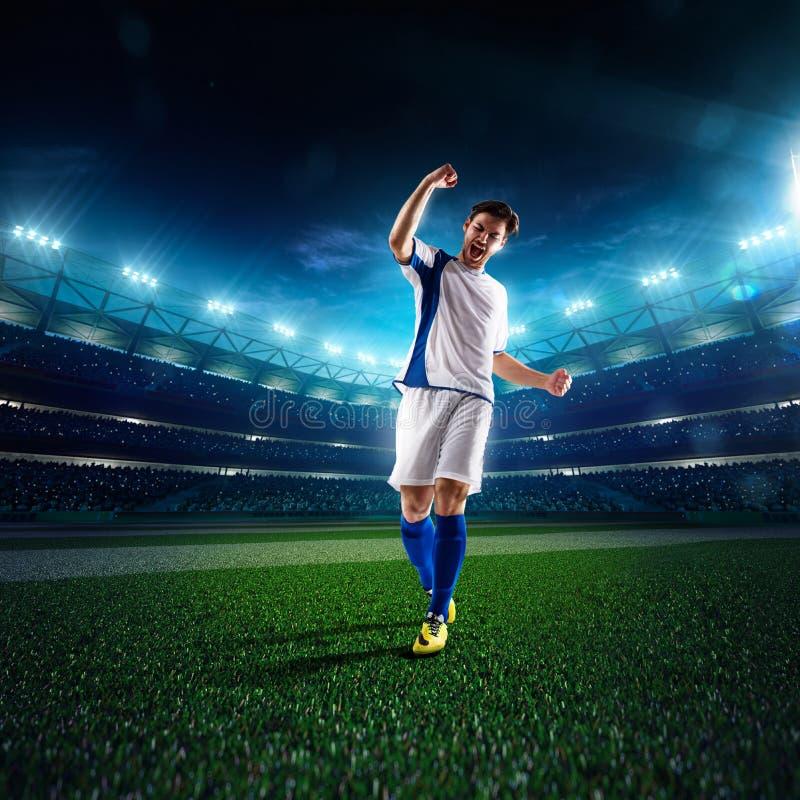 足球运动员在行动全景 库存照片