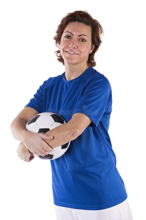 足球运动员妇女 免版税图库摄影