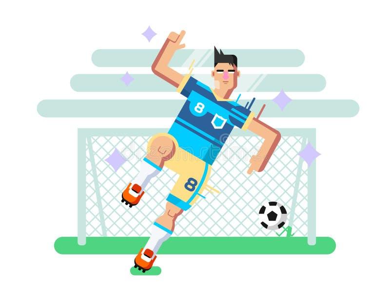 足球运动员平的设计 库存例证