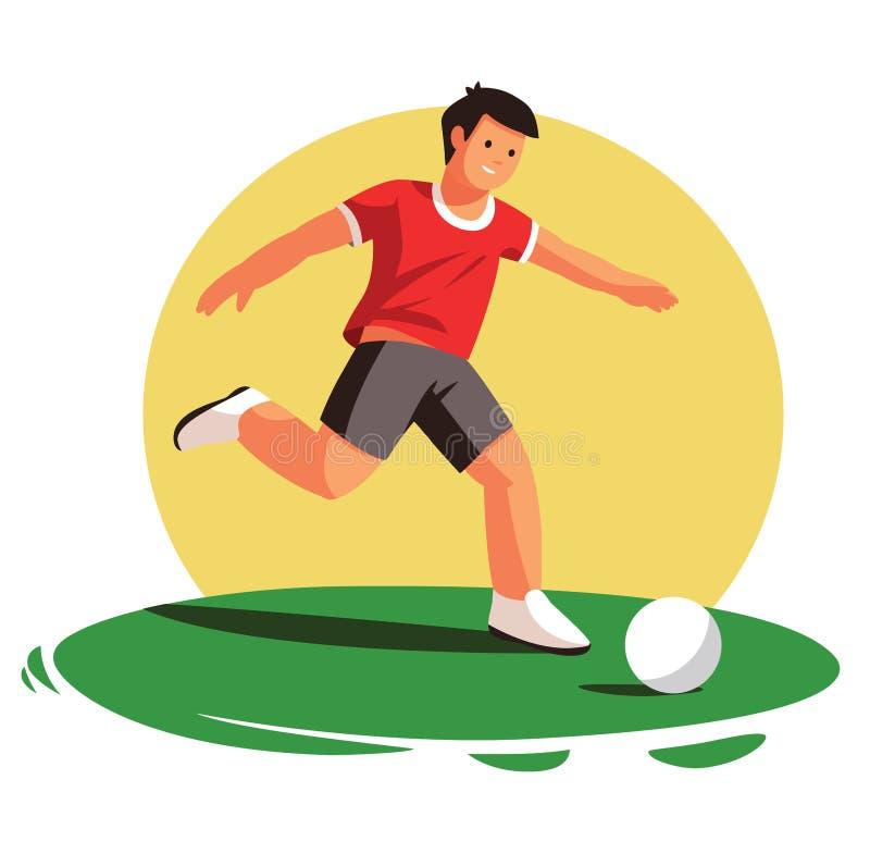 足球运动员汇集 在目标的射击 库存例证