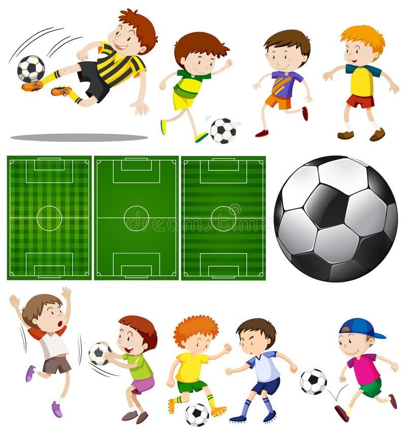 足球运动员用不同的行动和橄榄球场 皇族释放例证