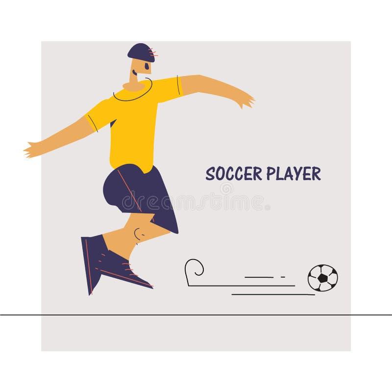足球运动员的例证平的设计样式的 库存例证