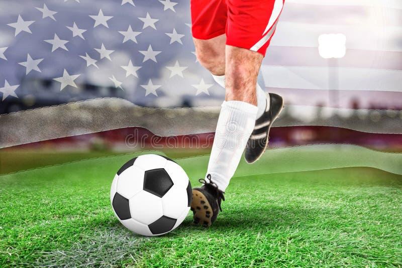 足球运动员的综合图象白色踢的 库存图片