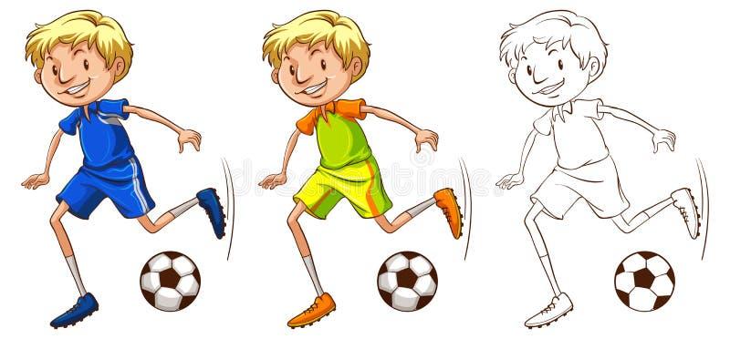 足球运动员的起草的字符 皇族释放例证
