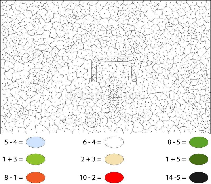 足球运动员站立与球在门 由数字的颜色 向量例证