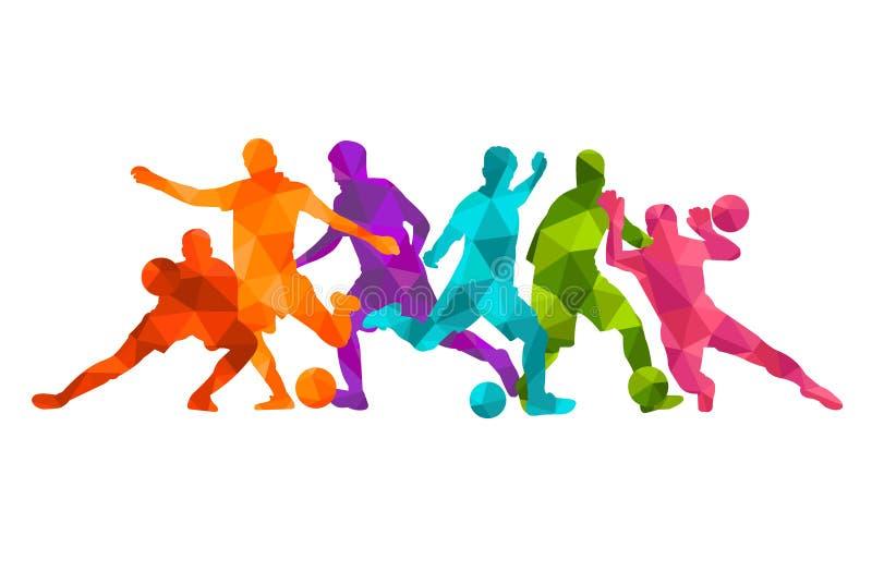 足球运动员足球剪影五颜六色的背景 传染媒介coloful例证设计横幅卡片海报 库存例证