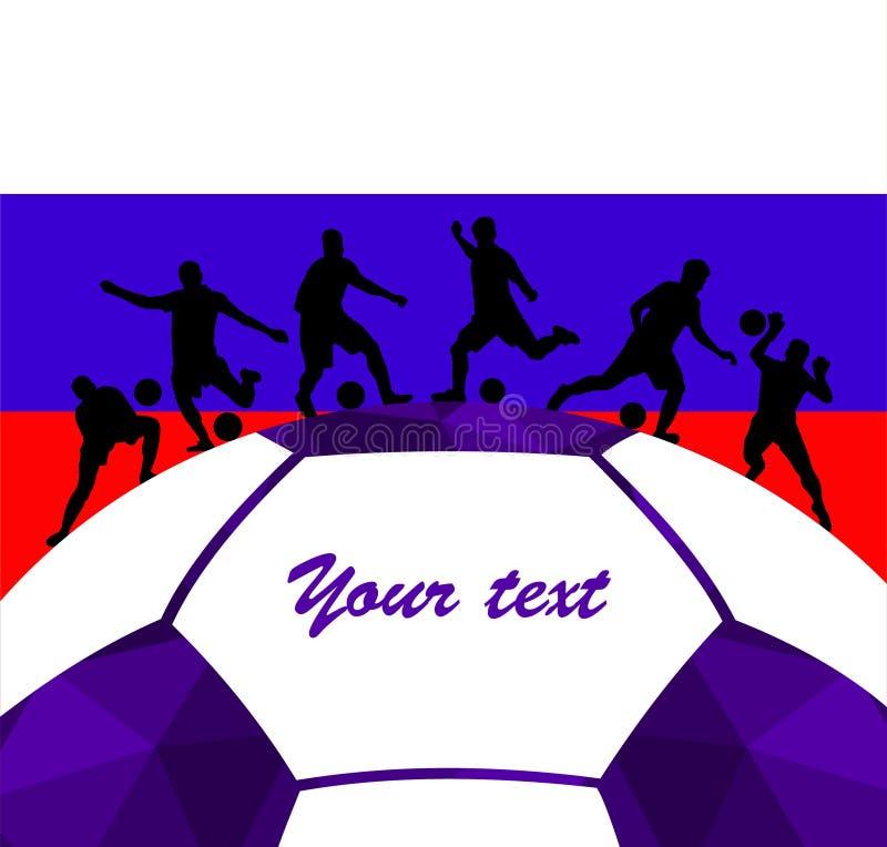 足球运动员足球剪影五颜六色的背景 传染媒介coloful例证设计横幅卡片海报 向量例证